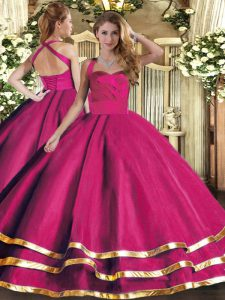 Luxury Hot Pink Sleeveless Tulle Lace Up 15 Quinceanera Dress for Military Ball and Sweet 16 and Quinceanera