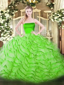 Latest Sleeveless Tulle Brush Train Zipper Vestidos de Quinceanera in with Ruffles
