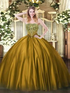 Colorful Brown Ball Gowns Strapless Sleeveless Satin Floor Length Lace Up Beading Quinceanera Dress