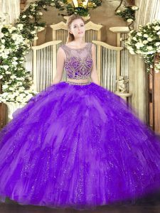 Lavender Vestidos de Quinceanera Military Ball and Sweet 16 and Quinceanera with Beading and Ruffles Scoop Sleeveless Lace Up