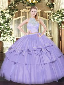 Ideal Lavender Scoop Neckline Lace and Ruffled Layers Quinceanera Dresses Sleeveless Zipper