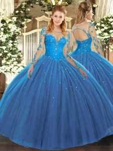 Extravagant Long Sleeves Lace Lace Up Quinceanera Dress