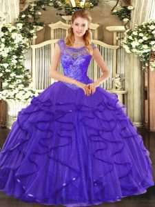 Blue Sleeveless Floor Length Beading and Ruffles Lace Up Quinceanera Dress