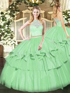 Floor Length Zipper Quinceanera Dresses Apple Green for Military Ball and Sweet 16 and Quinceanera with Lace and Ruffled Layers