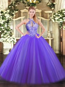 Tulle Halter Top Sleeveless Lace Up Sequins Sweet 16 Dress in Purple