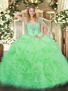 Chic Apple Green Ball Gowns Ruffles Quinceanera Dress Lace Up Organza Sleeveless Floor Length