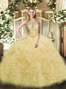 Sweet Organza Sleeveless Floor Length Quinceanera Dress and Beading and Ruffles