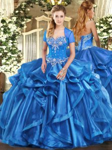 Glorious Sweetheart Sleeveless Lace Up Quinceanera Dress Baby Blue Organza