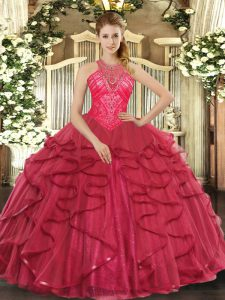 Trendy Coral Red Organza Lace Up High-neck Sleeveless Floor Length Sweet 16 Dress Beading and Ruffles