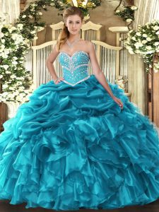 Custom Designed Beading and Ruffles and Pick Ups Quinceanera Dress Teal Lace Up Sleeveless Floor Length