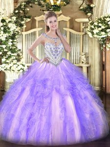 Lavender Tulle Zipper Sweet 16 Dress Sleeveless Floor Length Beading and Ruffles