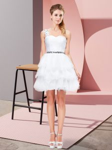 Stylish Mini Length Lace Up Prom Evening Gown White for Prom and Party with Beading and Ruffled Layers