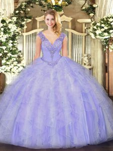 New Arrival Lavender Ball Gowns Beading and Ruffles 15 Quinceanera Dress Lace Up Organza Sleeveless Floor Length