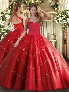 Modest Red Ball Gowns Appliques 15 Quinceanera Dress Lace Up Tulle Sleeveless Floor Length