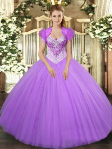 Fashionable Sleeveless Lace Up Floor Length Beading Vestidos de Quinceanera