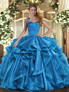 Baby Blue Sleeveless Ruffles Floor Length Sweet 16 Dresses