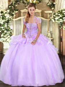 Dazzling Strapless Sleeveless Lace Up Quinceanera Dresses Lavender Organza