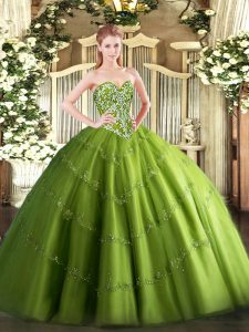 Olive Green Tulle Lace Up Sweetheart Sleeveless Floor Length Quinceanera Dresses Beading and Appliques