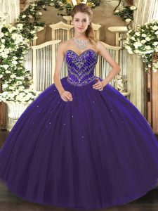 Discount Purple Sleeveless Floor Length Beading Lace Up Quince Ball Gowns