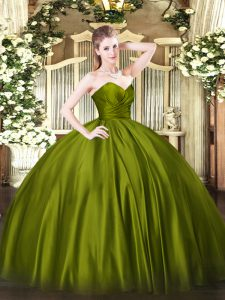 Noble Sleeveless Floor Length Ruching Zipper Vestidos de Quinceanera with Olive Green