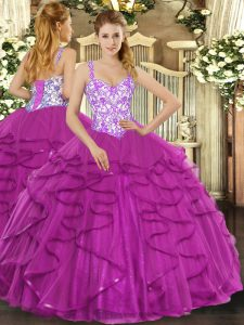 Straps Sleeveless Lace Up Sweet 16 Dress Fuchsia Tulle