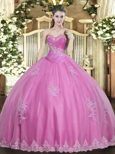 Free and Easy Rose Pink Ball Gowns Tulle Sweetheart Sleeveless Beading and Appliques Floor Length Lace Up 15 Quinceanera Dress