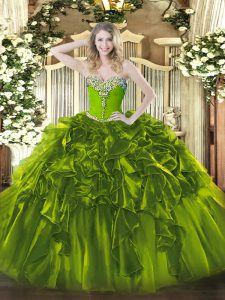 Floor Length Olive Green Ball Gown Prom Dress Organza Sleeveless Beading and Ruffles