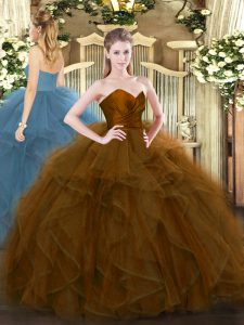 Floor Length Zipper Quince Ball Gowns Brown for Military Ball and Sweet 16 and Quinceanera with Ruffles