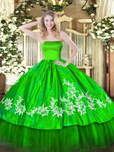 Ball Gowns Embroidery Sweet 16 Dresses Zipper Organza and Taffeta Sleeveless Floor Length