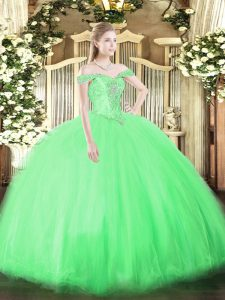 Sleeveless Tulle Lace Up 15 Quinceanera Dress for Military Ball and Sweet 16 and Quinceanera