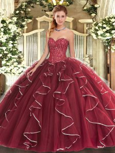 Beading and Ruffles Sweet 16 Quinceanera Dress Burgundy Lace Up Sleeveless Floor Length