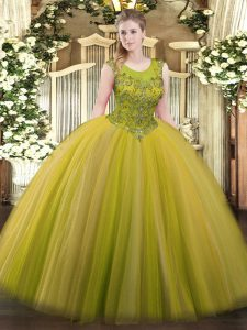 Artistic Brown Ball Gowns Beading Sweet 16 Dresses Zipper Tulle Sleeveless Floor Length