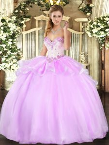 Colorful Sweetheart Sleeveless 15 Quinceanera Dress Floor Length Beading Lilac Organza