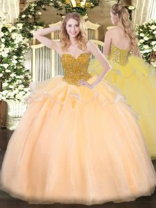 Orange Red Organza Lace Up Ball Gown Prom Dress Sleeveless Floor Length Beading