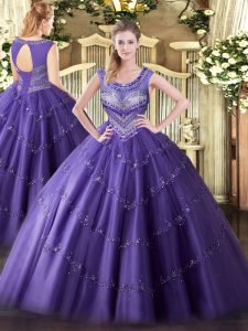 Purple Sleeveless Beading and Appliques Floor Length Sweet 16 Dresses