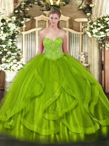 Sumptuous Quinceanera Gown Military Ball and Sweet 16 and Quinceanera with Beading and Ruffles Sweetheart Sleeveless Lace Up