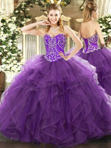 Eggplant Purple Lace Up Sweetheart Beading and Ruffles 15th Birthday Dress Tulle Sleeveless