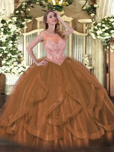 Exquisite Beading and Ruffles Sweet 16 Dress Brown Lace Up Sleeveless Floor Length