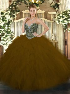 Custom Designed Brown Tulle Lace Up Sweet 16 Dresses Sleeveless Floor Length Beading and Ruffles