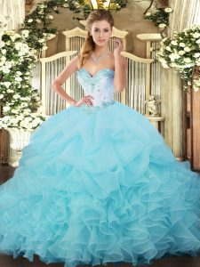 Floor Length Aqua Blue 15 Quinceanera Dress Organza Sleeveless Beading and Ruffles and Pick Ups