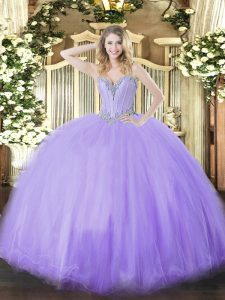 Superior Sweetheart Sleeveless Lace Up Vestidos de Quinceanera Lavender Tulle