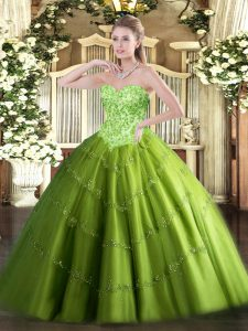 Floor Length Lace Up Quince Ball Gowns for Military Ball and Sweet 16 and Quinceanera with Appliques