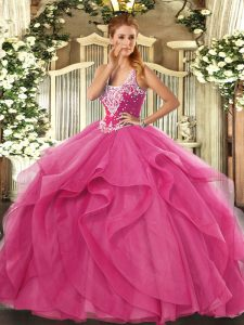Glorious Hot Pink Lace Up Straps Beading and Ruffles Sweet 16 Dresses Tulle Sleeveless