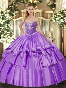 Custom Made Floor Length Lace Up Quince Ball Gowns Lavender for Military Ball and Sweet 16 and Quinceanera with Beading and Ruffled Layers