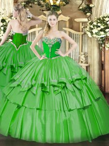 Exquisite Green Sweetheart Lace Up Beading and Ruffled Layers Sweet 16 Quinceanera Dress Sleeveless