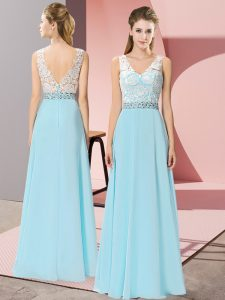 Floor Length Aqua Blue Homecoming Dress Chiffon Sleeveless Beading
