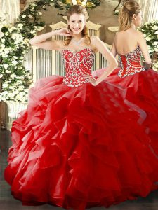 Unique Ball Gowns 15th Birthday Dress Red Sweetheart Organza Sleeveless Floor Length Lace Up