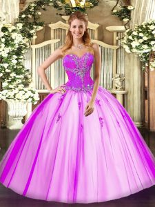 Affordable Sweetheart Sleeveless Tulle Vestidos de Quinceanera Beading Lace Up