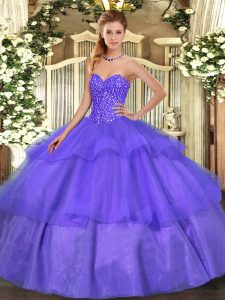 Floor Length Lavender Sweet 16 Dress Sweetheart Sleeveless Lace Up