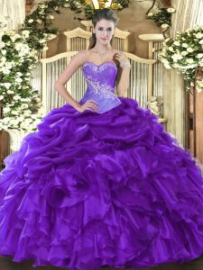 Noble Organza Sleeveless Floor Length Quinceanera Dresses and Beading and Ruffles and Pick Ups